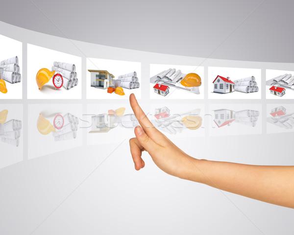 Kéz holografikus szalag képek absztrakt Stock fotó © cherezoff