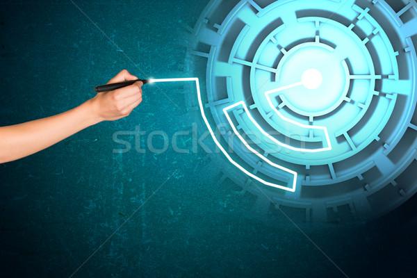 Kéz ír holografikus képernyő labirintus Stock fotó © cherezoff