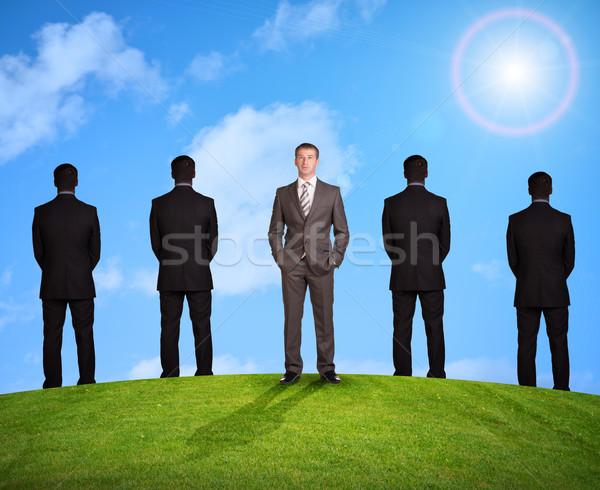 Szett üzletemberek természet zöld fű kék ég fű Stock fotó © cherezoff