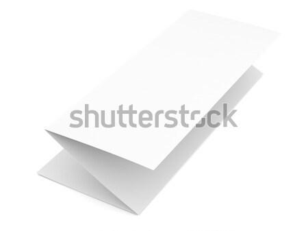 Pliées papier vierge livret blanche isolé papier Photo stock © cherezoff
