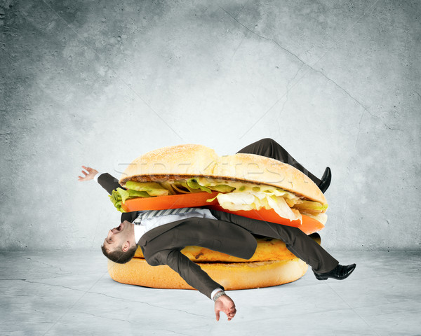 Affaires à l'intérieur hamburger gris mur alimentaire Photo stock © cherezoff
