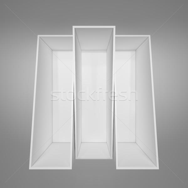 пусто белый книжная полка серый 3d иллюстрации домой Сток-фото © cherezoff