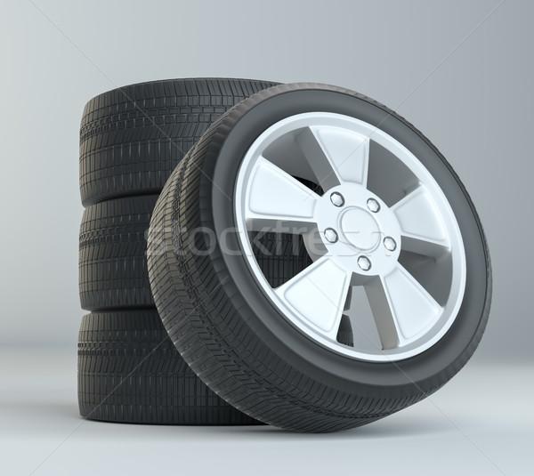 Car Tires on Gray Studio Background Stock photo © cherezoff