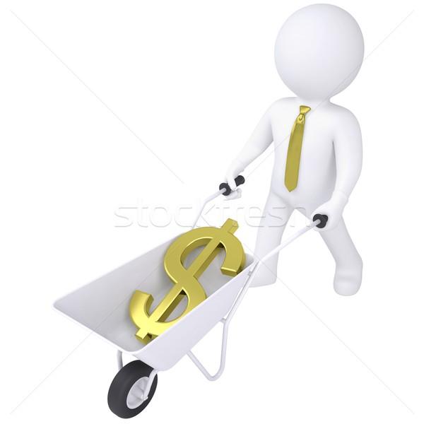 3d white man carries a wheelbarrow with the euro Stock photo © cherezoff