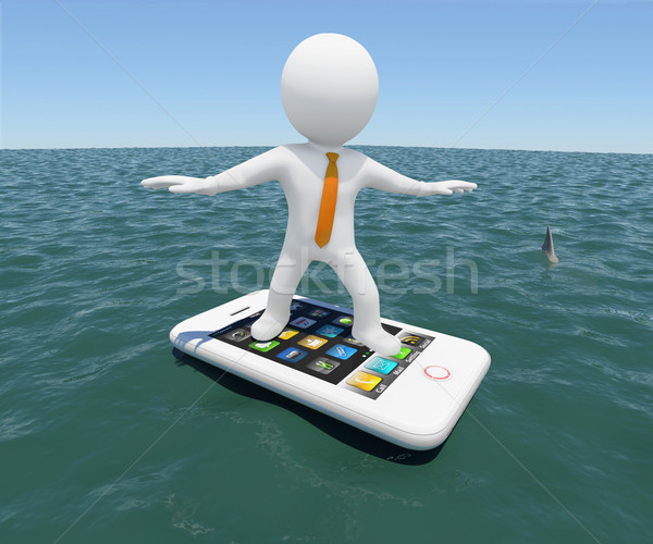 3d man floating on smartphone in the sea Stock photo © cherezoff