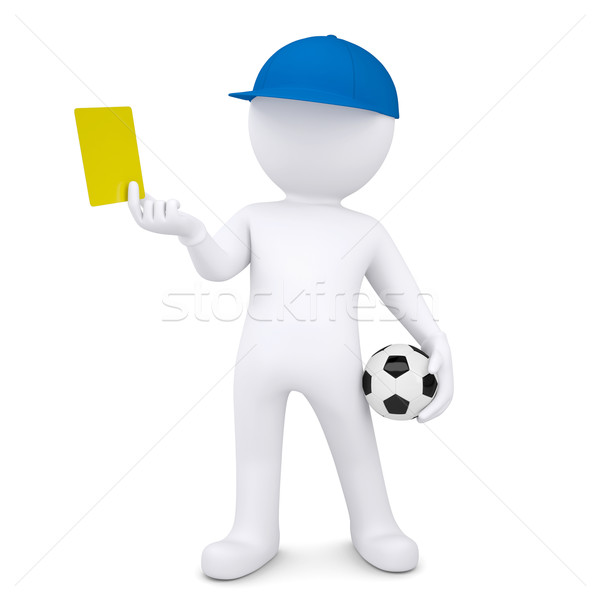 3d white man with soccer ball shows yellow card Stock photo © cherezoff