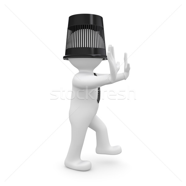 3d human with a bucket on his head is to the touch Stock photo © cherezoff