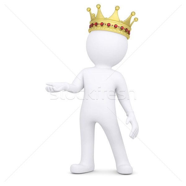3d white man with a crown raised his hand Stock photo © cherezoff