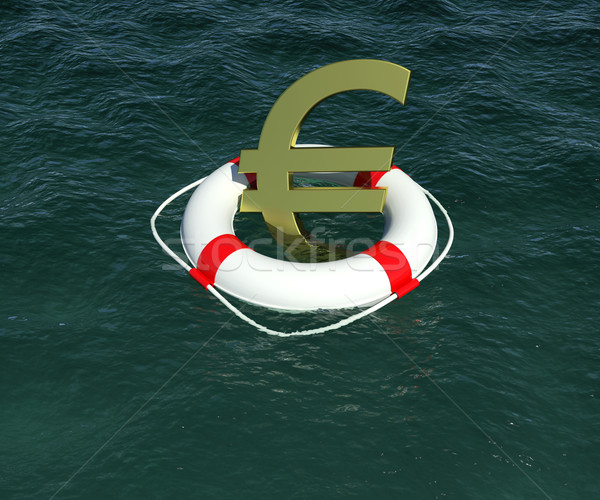Sign of European currency in rescue disk floats on water Stock photo © cherezoff