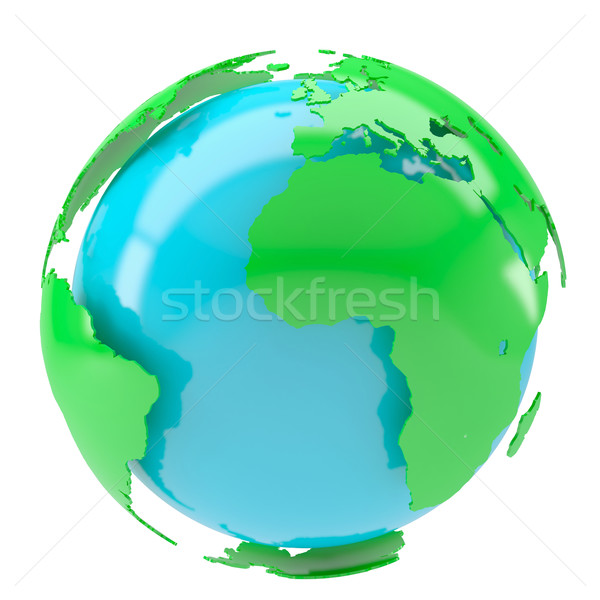 Blauw planeet groene continenten geïsoleerd geven Stockfoto © cherezoff