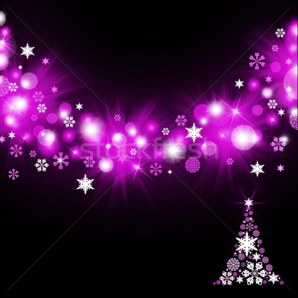 árbol de navidad magenta oscuro luz nieve Foto stock © cherezoff