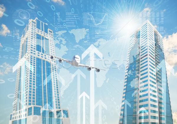 Foto stock: Avião · arranha-céus · crescimento · negócio · edifício