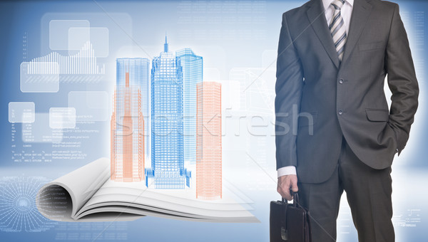 Businessman and wire-frame buildings on open empty book Stock photo © cherezoff
