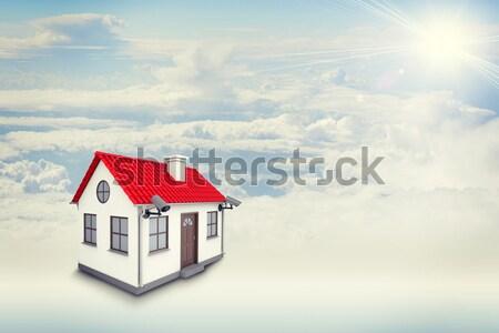 Casa bianca etichetta affitto rosso tetto camino Foto d'archivio © cherezoff