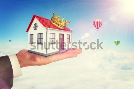 Fehér ház piros tető járda felirat nap Stock fotó © cherezoff