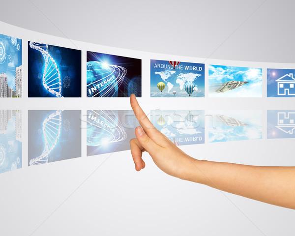 Stock fotó: Kommunikáció · kapcsolat · közlekedés · információ · ujj · egy