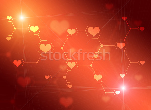 Abstract composition of red lines and hearts Stock photo © cherezoff