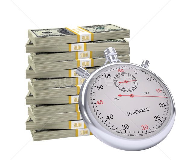 Timer with pile of money Stock photo © cherezoff