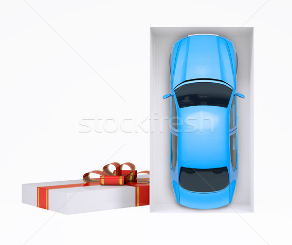 Stock photo: Car in gift box on white
