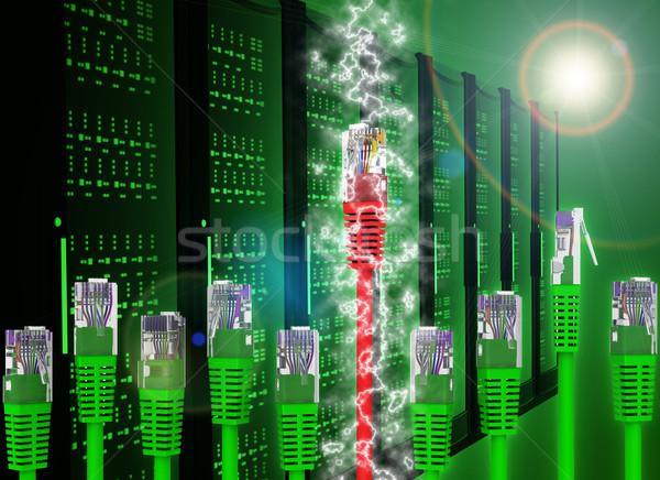 Streszczenie zielone kabel komputerowy świetle Zdjęcia stock © cherezoff