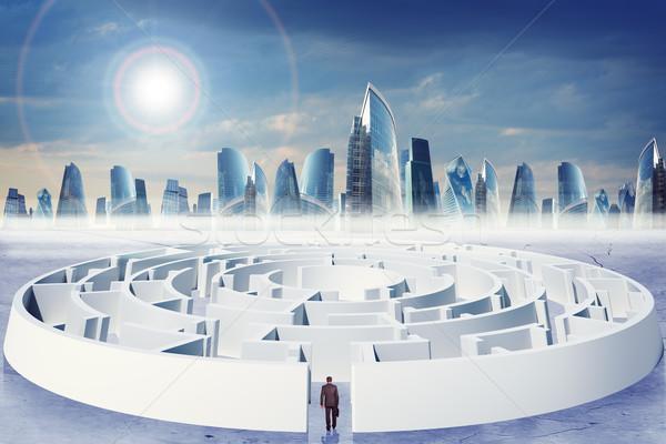 бизнесмен чемодан лабиринт современных город облака Сток-фото © cherezoff