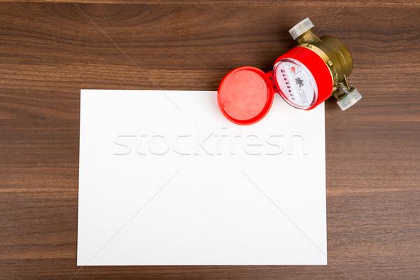 Carte vierge eau table en bois papier carte blanche Photo stock © cherezoff