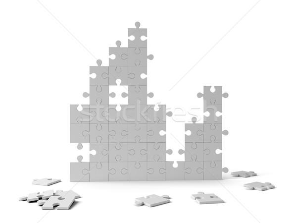 Puzzle pieces on white Stock photo © cherezoff
