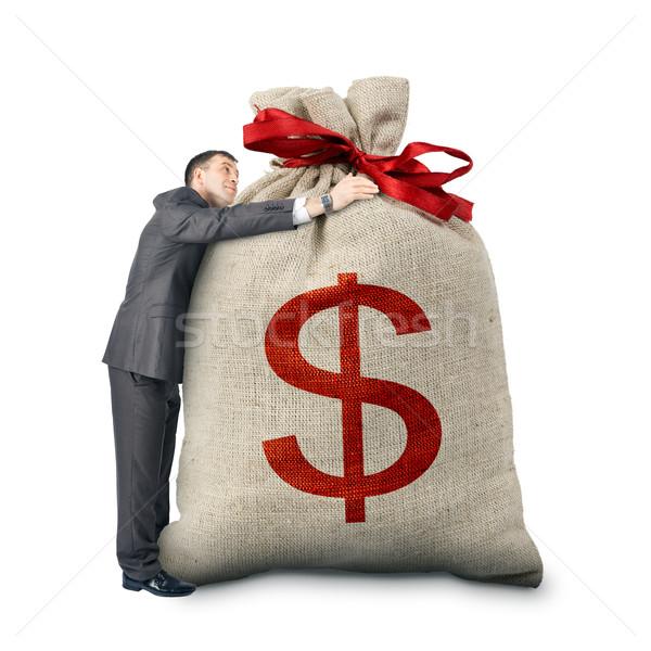 Işadamı büyük çanta dolar işareti yalıtılmış Stok fotoğraf © cherezoff