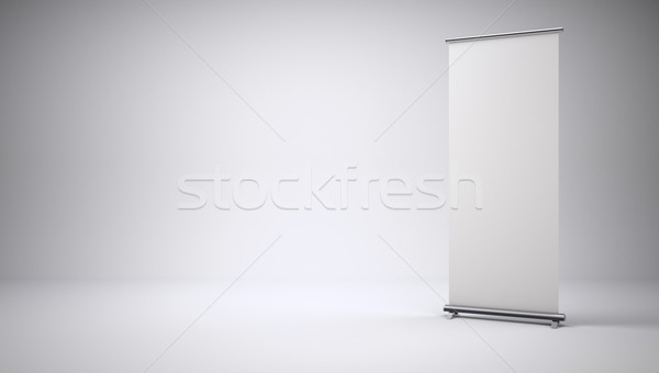 Roll up banner with paper canvas texture Stock photo © cherezoff