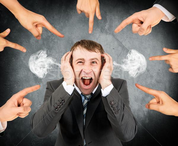 Dita punta urlando imprenditore molti Foto d'archivio © cherezoff