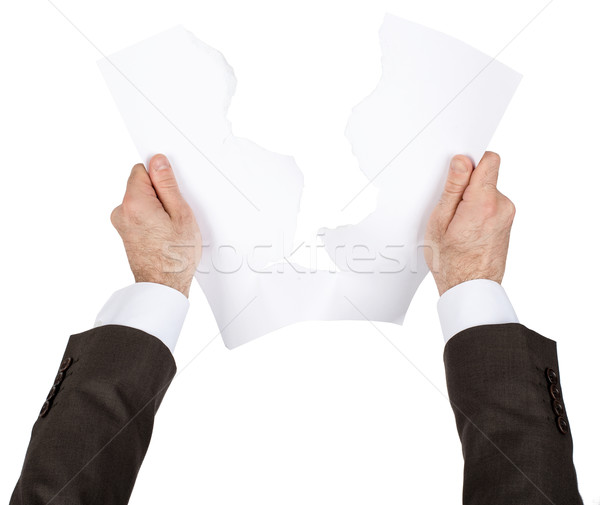 бизнесмен слезу чистый лист бумаги изолированный белый бумаги Сток-фото © cherezoff