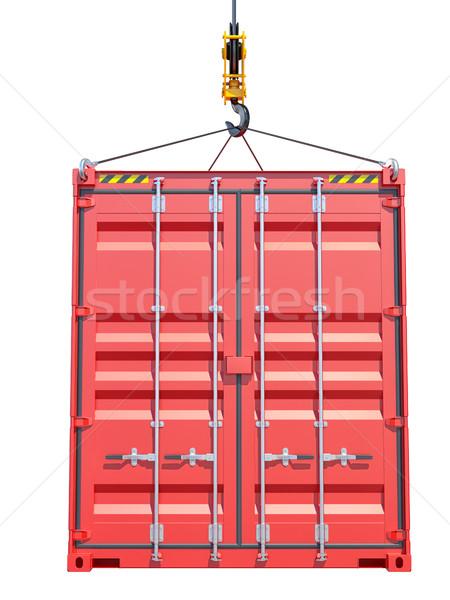 Nakliye konteyner vinç kanca yandan görünüş yalıtılmış Stok fotoğraf © cherezoff