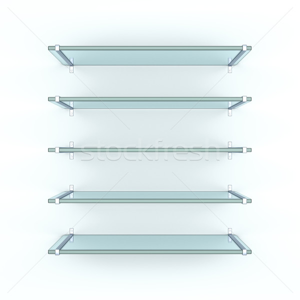 Vijf gelijk glas witte muur Stockfoto © cherezoff