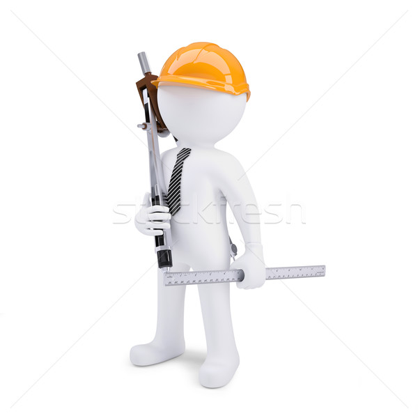 3d human in helmet with a ruler and calipers Stock photo © cherezoff