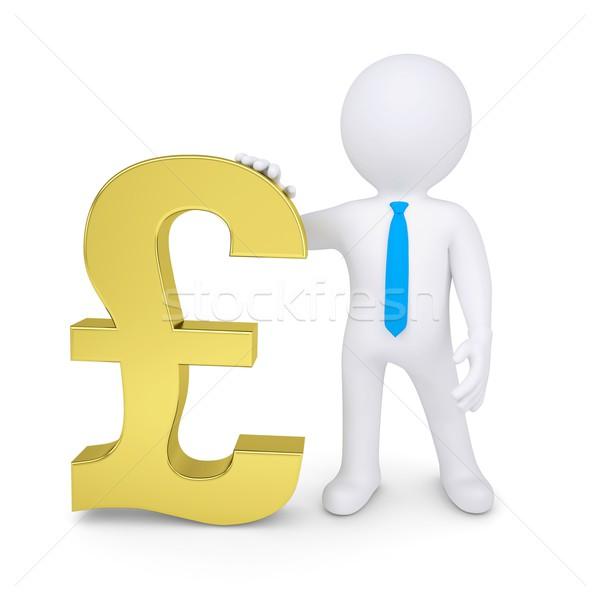 Beyaz 3d man altın pound yalıtılmış vermek Stok fotoğraf © cherezoff