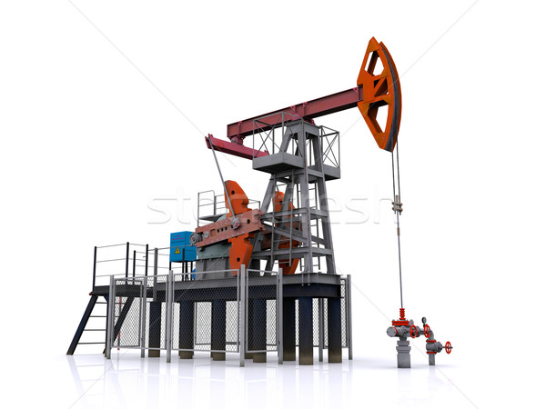 oil pump-jack on a white background. 3d rendering Stock photo © cherezoff
