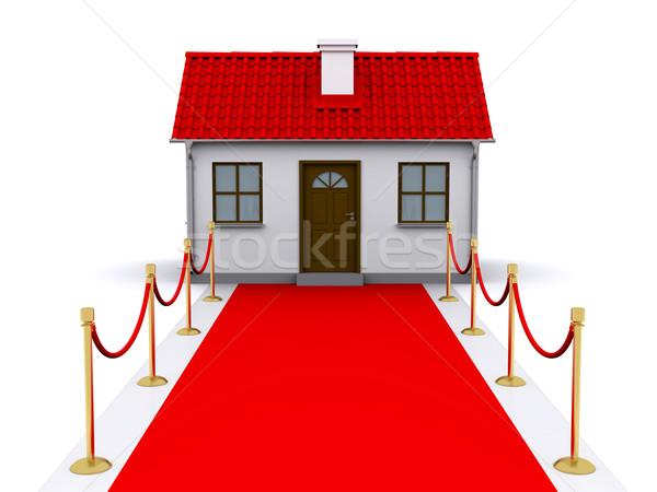 Faible maison tapis rouge rouge toit affaires Photo stock © cherezoff