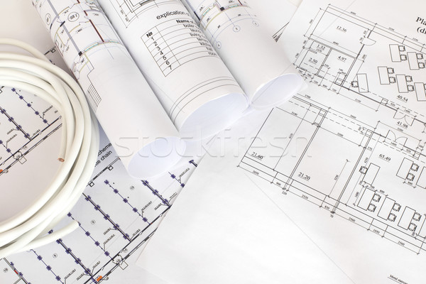 Electrical cable on the construction drawings Stock photo © cherezoff