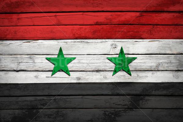 シリア フラグ 描いた 木製 グランジ スタイル ストックフォト © cherezoff