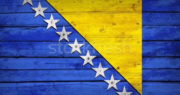 Bósnia-Herzegovina bandeira pintado grunge estilo Foto stock © cherezoff