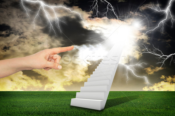 Finger indicates stairway with thunderstorm Stock photo © cherezoff