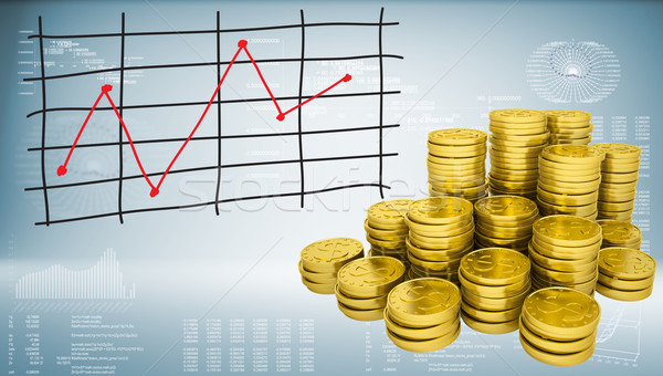 Gold coins and graph of price changes Stock photo © cherezoff