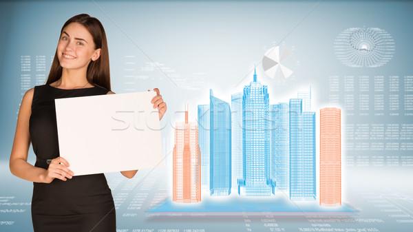 Femme d'affaires papier fiche fil cadre Photo stock © cherezoff
