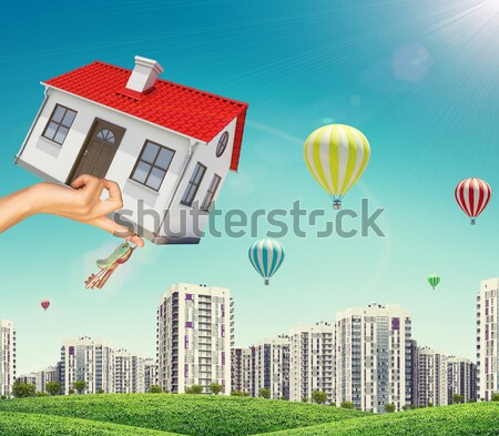 House is falling from the sky. City on background Stock photo © cherezoff