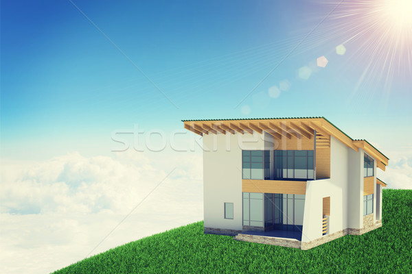 Hands holding cottage in clouds with windows. Background sun shines brightly Stock photo © cherezoff