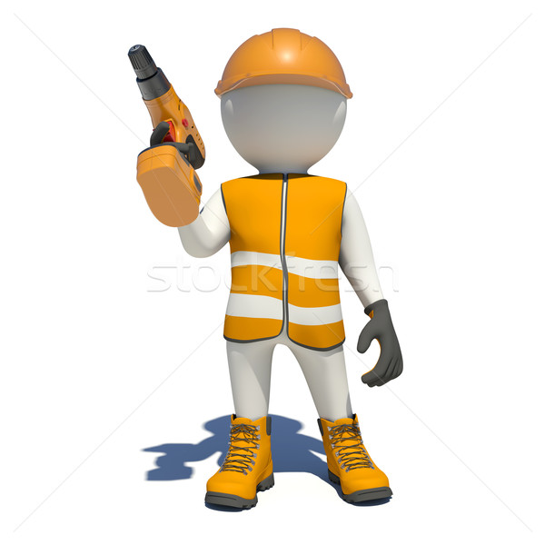 White man in special clothes with drill Stock photo © cherezoff