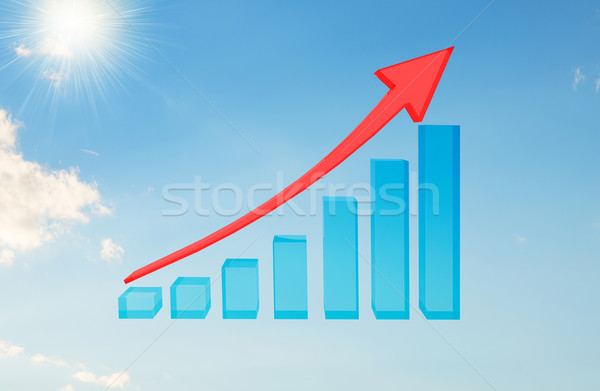 Graphical chart with arrow rising up Stock photo © cherezoff