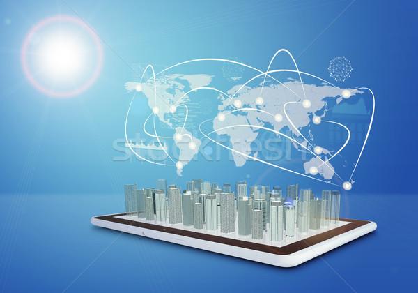 Comprimido virtual cityscape mapa do mundo linhas azul Foto stock © cherezoff