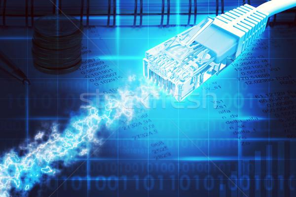 Kabel komputerowy streszczenie niebieski biuro komputera papieru Zdjęcia stock © cherezoff