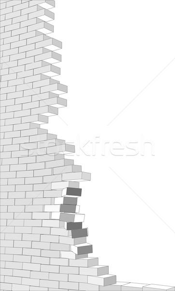 ストックフォト: 壊れた · 壁 · 白 · 孤立した
